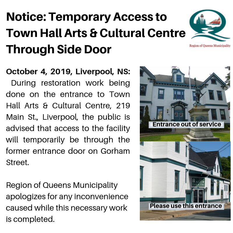 Notice Entry to Town Hall Arts Cultural Centre1