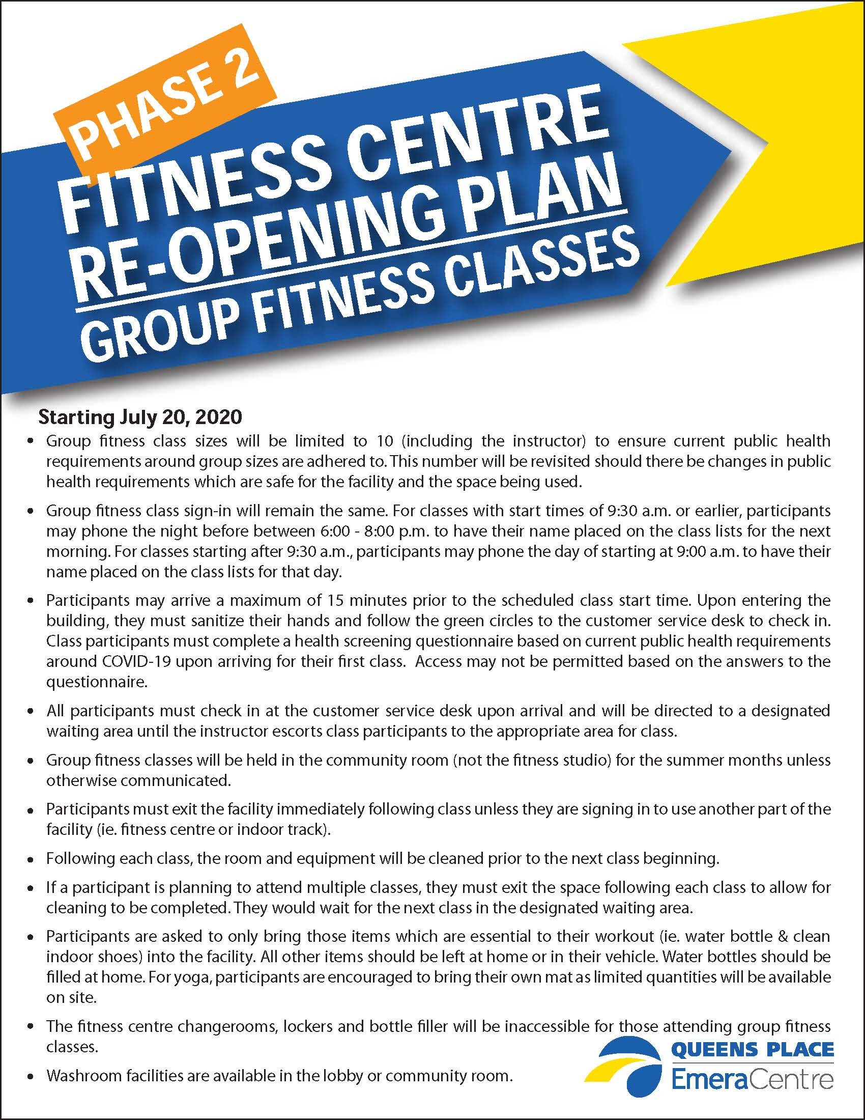 PHASE 2 FITNESS CENTRE RE OPENING GROUP CLASSES